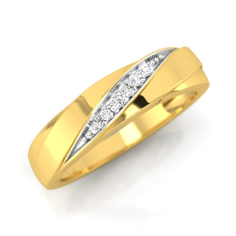 diamond studded gold jewellery - Clemira Band Ring - Pristine Fire - 1