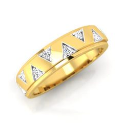 diamond studded gold jewellery - Colleen Band Ring - Pristine Fire - 1
