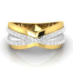 diamond studded gold jewellery - Cyrilla Band Ring - Pristine Fire - 2