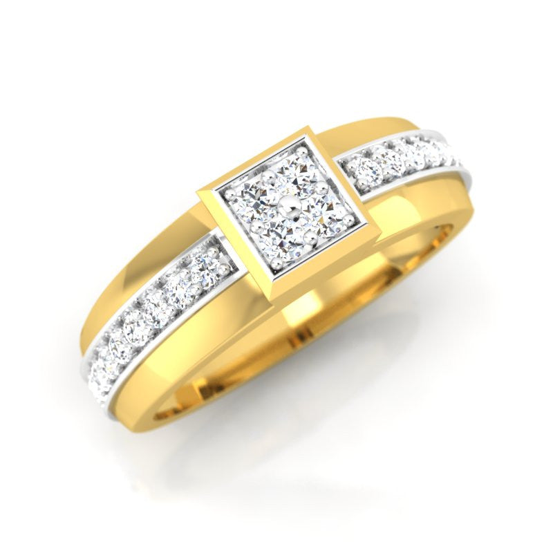 diamond studded gold jewellery - Dimitra Band Ring - Pristine Fire - 1