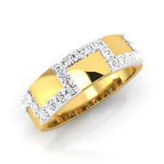 diamond studded gold jewellery - Domnic Men's Ring - Pristine Fire - 1