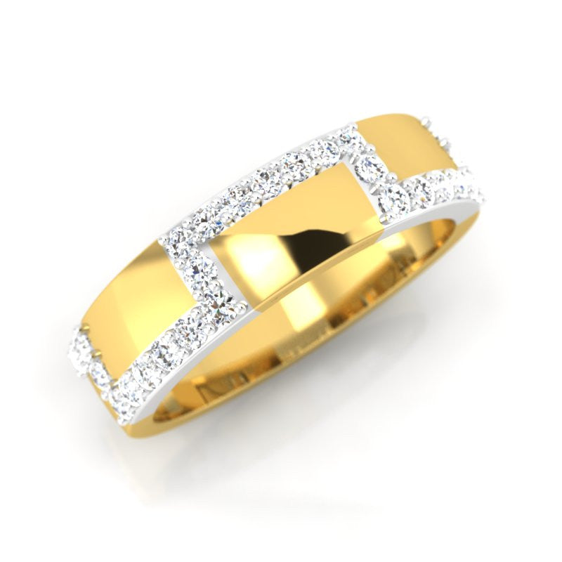 diamond studded gold jewellery - Domnica Band Ring - Pristine Fire - 1