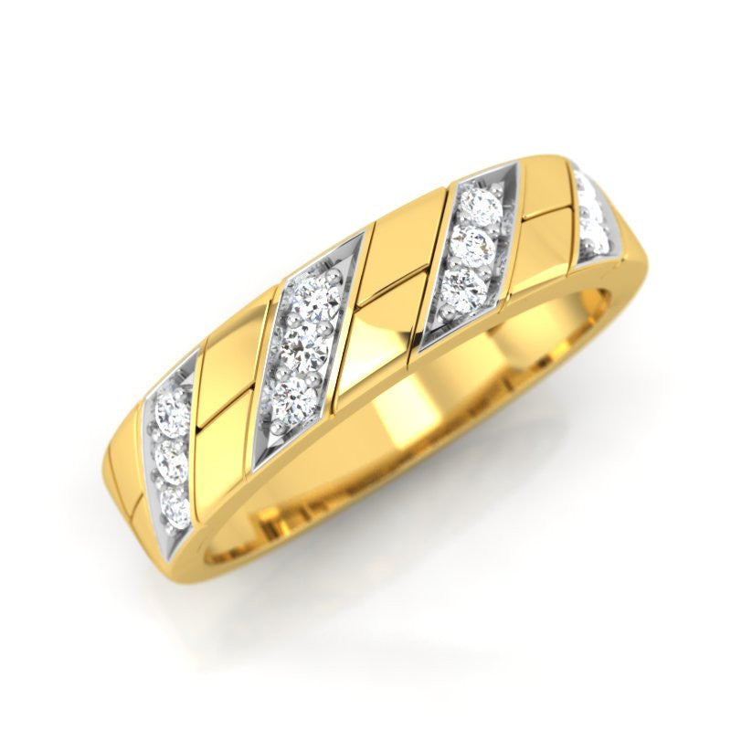 diamond studded gold jewellery - Earlene Band Ring - Pristine Fire - 1