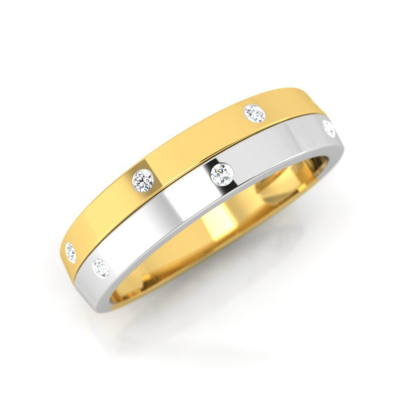 diamond studded gold jewellery - Ethella Band Ring - Pristine Fire - 1