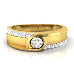diamond studded gold jewellery - Fabian Men's Ring - Pristine Fire - 2