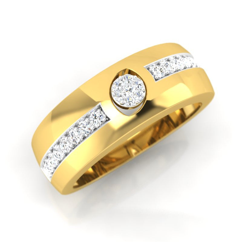 diamond studded gold jewellery - Frannie Band Ring - Pristine Fire - 1