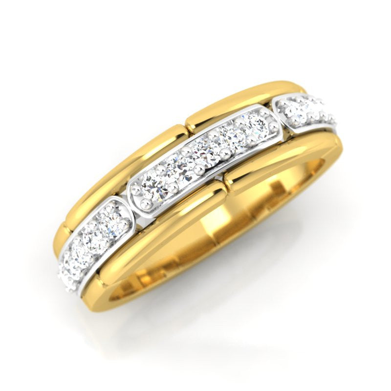 diamond studded gold jewellery - Georgia Band Ring - Pristine Fire - 1