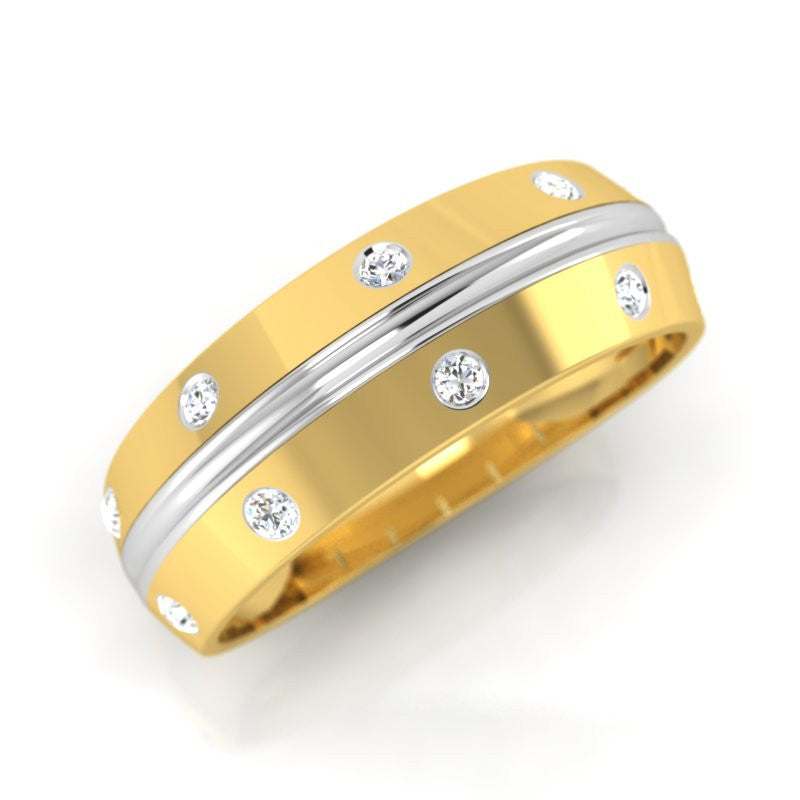 diamond studded gold jewellery - Jamilee Band Ring - Pristine Fire - 1