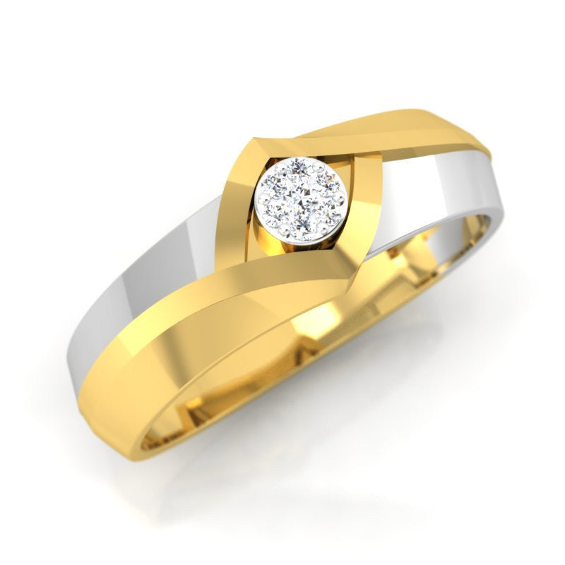 diamond studded gold jewellery - Jazz Men's Ring - Pristine Fire - 1