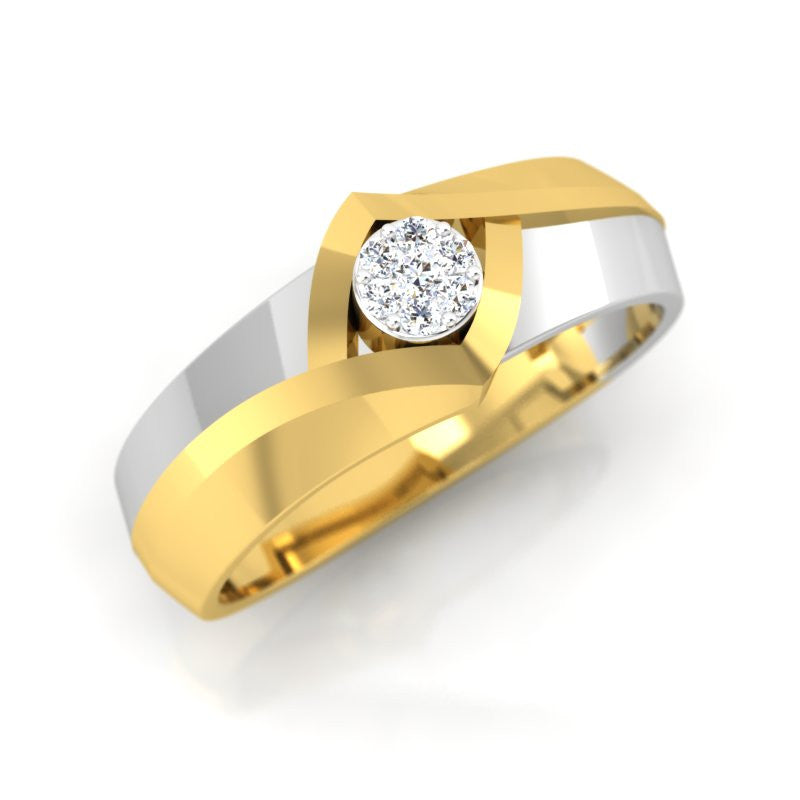 diamond studded gold jewellery - Jazzmin Band Ring - Pristine Fire - 1