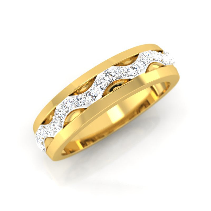 diamond studded gold jewellery - Jordana Band Ring - Pristine Fire - 1