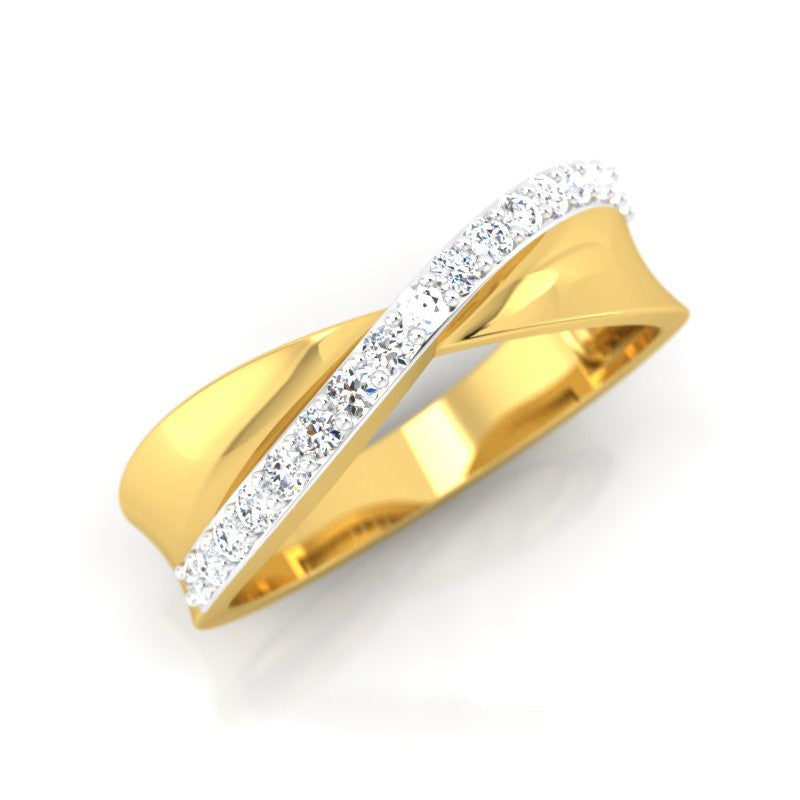 diamond studded gold jewellery - Julina Band Ring - Pristine Fire - 1