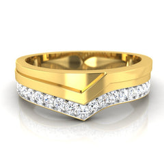 diamond studded gold jewellery - Justin Men's Ring - Pristine Fire - 2
