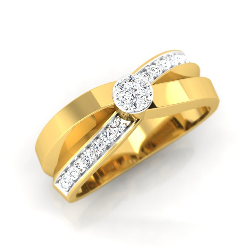 diamond studded gold jewellery - Kriston Band Ring - Pristine Fire - 1