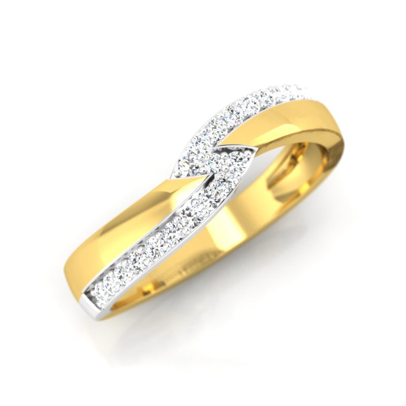 diamond studded gold jewellery - Laryssa Band Ring - Pristine Fire - 1