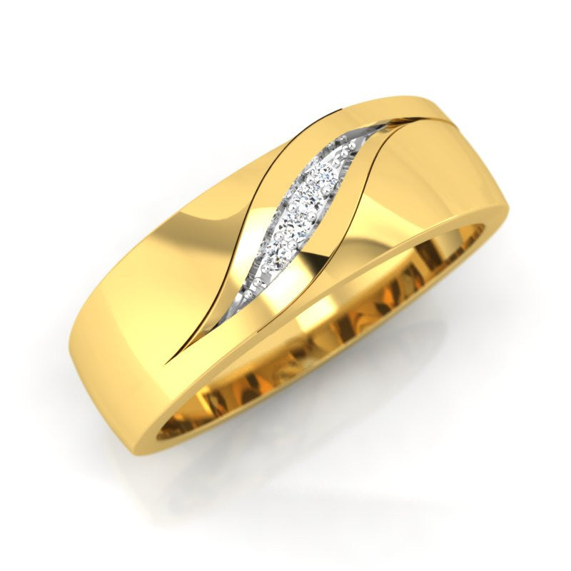 diamond studded gold jewellery - Laurel Men's Ring - Pristine Fire - 1