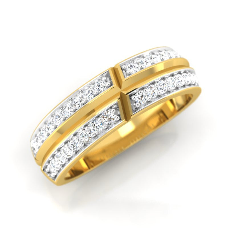 diamond studded gold jewellery - Martina Band Ring - Pristine Fire - 1