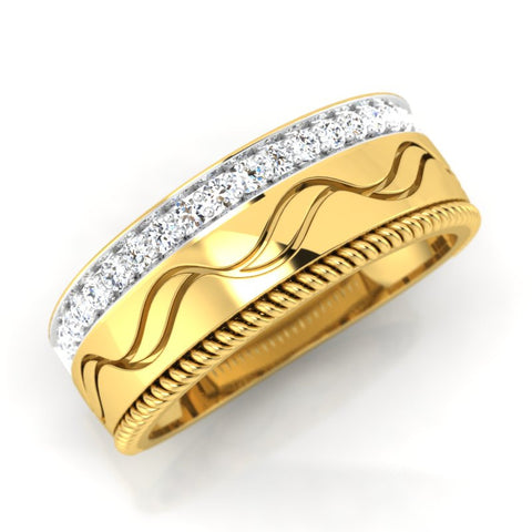 diamond studded gold jewellery - Mervin Men's Ring - Pristine Fire - 1