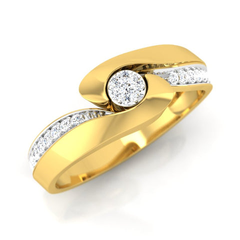 diamond studded gold jewellery - Oswald Men's Ring - Pristine Fire - 1