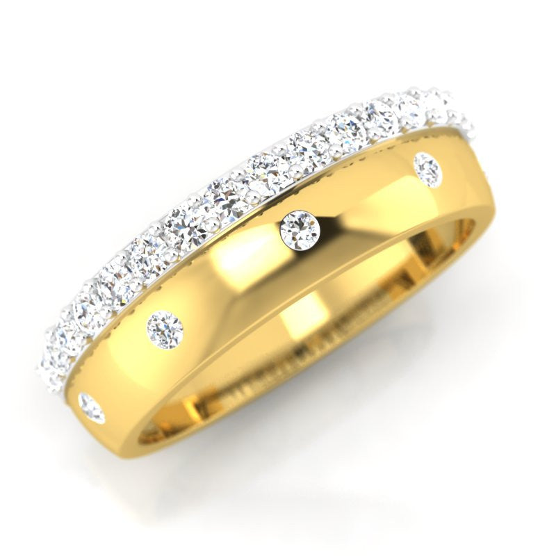 diamond studded gold jewellery - Patrice Band Ring - Pristine Fire - 1