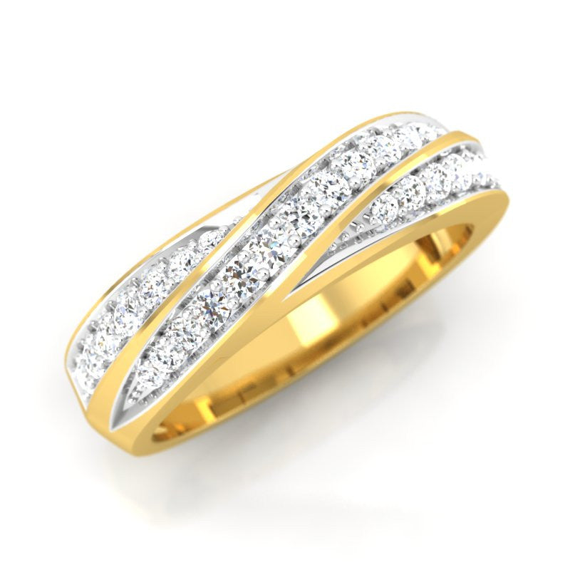 diamond studded gold jewellery - Romaine Band Ring - Pristine Fire - 1