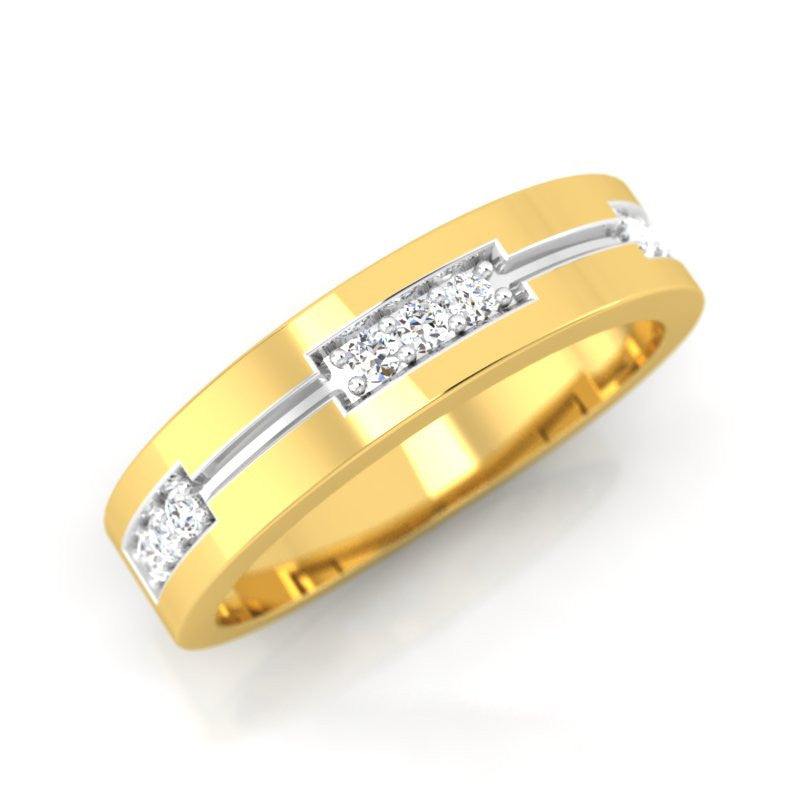 diamond studded gold jewellery - Victorya Band Ring - Pristine Fire - 1