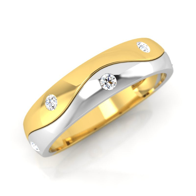 diamond studded gold jewellery - Zavier Men's Ring - Pristine Fire - 1
