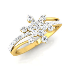 diamond studded gold jewellery - Mikah Cluster Ring - Pristine Fire - 1