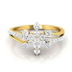 diamond studded gold jewellery - Mikah Cluster Ring - Pristine Fire - 2