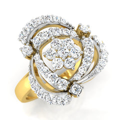 diamond studded gold jewellery - Tahira Cocktail Ring - Pristine Fire - 1