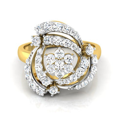 diamond studded gold jewellery - Tahira Cocktail Ring - Pristine Fire - 2