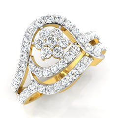diamond studded gold jewellery - Sandrine Fashion Ring - Pristine Fire - 1