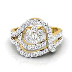diamond studded gold jewellery - Sandrine Fashion Ring - Pristine Fire - 2