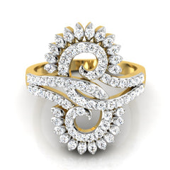 diamond studded gold jewellery - Lynlee Fashion Ring - Pristine Fire - 2