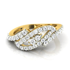 diamond studded gold jewellery - Hinda Fashion Ring - Pristine Fire - 2