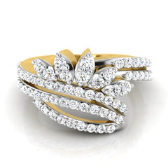 diamond studded gold jewellery - Ricki Fashion Ring - Pristine Fire - 2
