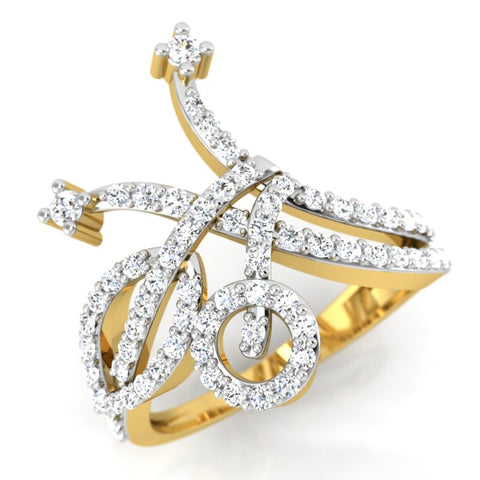 diamond studded gold jewellery - Ghada Fashion Ring - Pristine Fire - 1