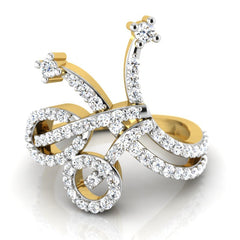 diamond studded gold jewellery - Ghada Fashion Ring - Pristine Fire - 2