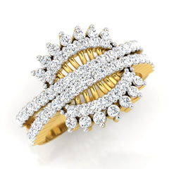 diamond studded gold jewellery - Vondra Fashion Ring - Pristine Fire - 1