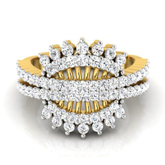 diamond studded gold jewellery - Vondra Fashion Ring - Pristine Fire - 2