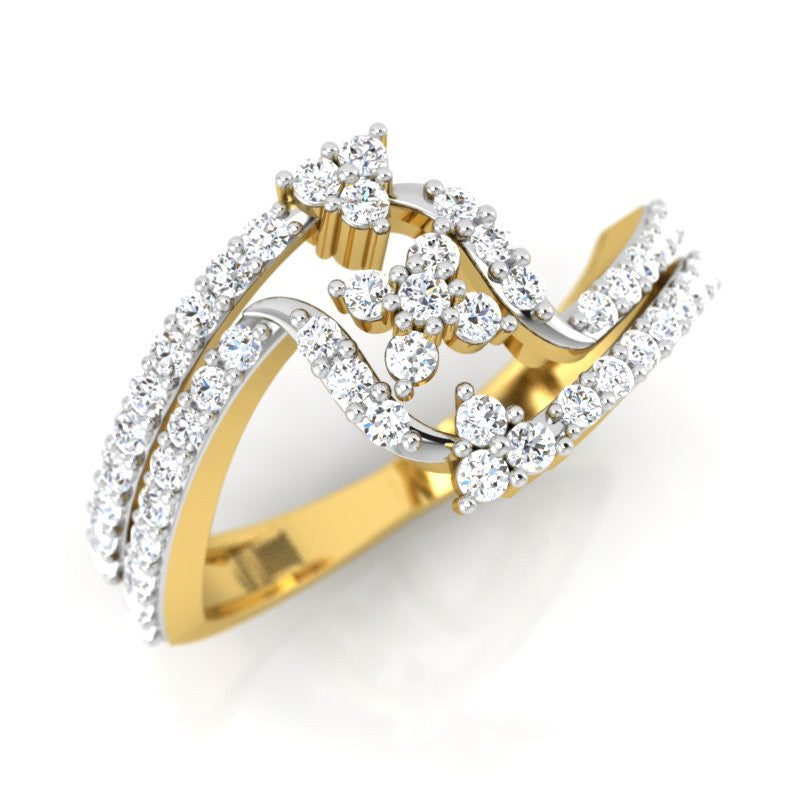 diamond studded gold jewellery - Jamila Fashion Ring - Pristine Fire - 1