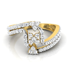 diamond studded gold jewellery - Jamila Fashion Ring - Pristine Fire - 2