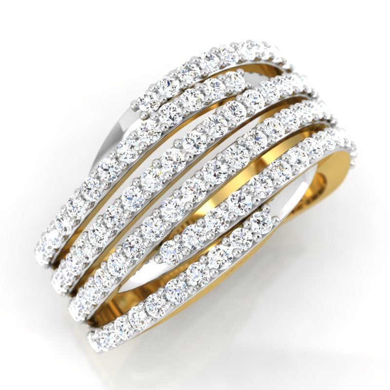 diamond studded gold jewellery - Aysha Band Ring - Pristine Fire - 1