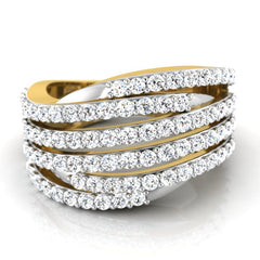 diamond studded gold jewellery - Aysha Band Ring - Pristine Fire - 2