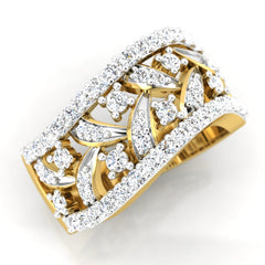diamond studded gold jewellery - Breahna Band Ring - Pristine Fire - 1