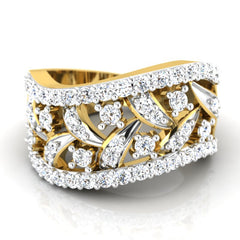 diamond studded gold jewellery - Breahna Band Ring - Pristine Fire - 2