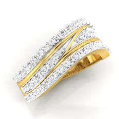 diamond studded gold jewellery - Breigh Band Ring - Pristine Fire - 1