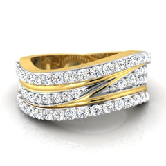 diamond studded gold jewellery - Breigh Band Ring - Pristine Fire - 2