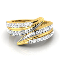 diamond studded gold jewellery - Fenna Band Ring - Pristine Fire - 2