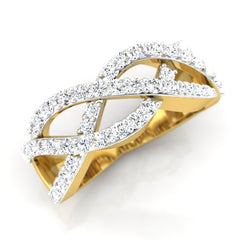 diamond studded gold jewellery - Kirstie Band Ring - Pristine Fire - 1